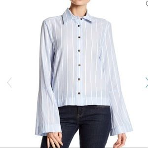Derek Lam Pale Blue Striped Button Down